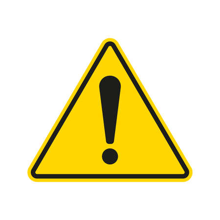 Caution warning sign with exclamation mark. Alert, danger, hazard, attention and error symbol. Yellow road sign. Triangle shape. Vector illustration.