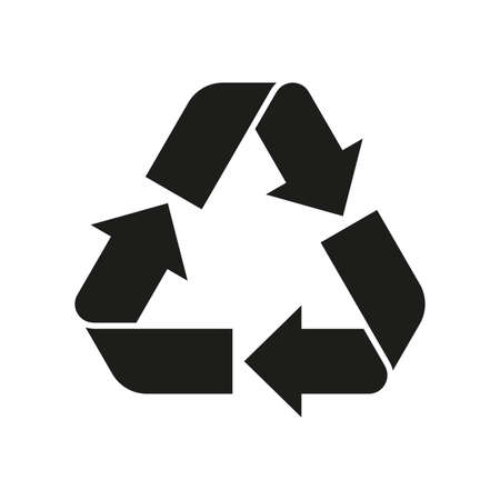 Recycle sign. Reuse symbol with arrows. Eco and environment protection icon. Vector illustration. Vettoriali