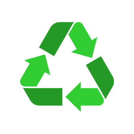Recycle sign. Green Reuse symbol with arrows. Eco and environment protection icon. Vector illustration.