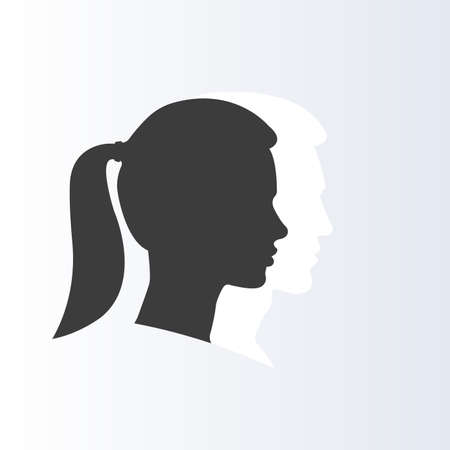 Girl with ponytail. Woman face profile with man silhouette on the backdrop. Side view. Vector illustration.