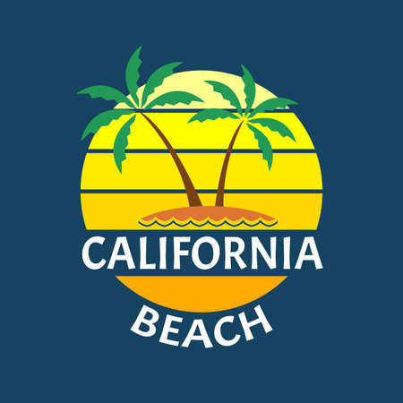 California Beach print with a Palm trees on the island. Summer typography design for T-shirt. Tropical badge or logo. Vector illustration.