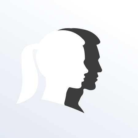 Man and Woman Face Silhouette. Male and Female symbol. The Young Boy and a Girl with a ponytail portrait. Profile or side view. Abstract couple  . Vector illustration.