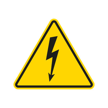 Electrical hazard sign with lightning or thunder icon. High voltage sign. Caution warning and Danger symbol. Triangle shape. Vector illustration. Vettoriali
