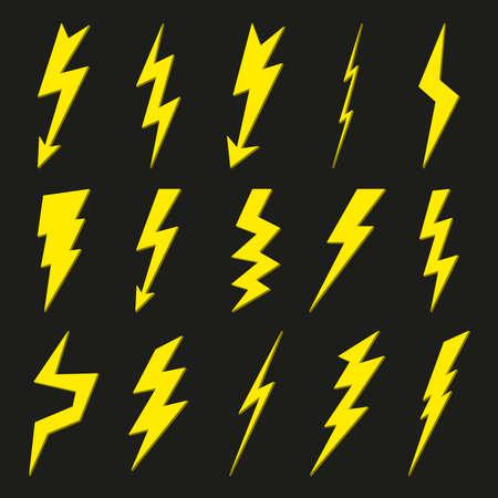 Thunder bolt icon set. Lightning sign. Vector illustration. Vettoriali