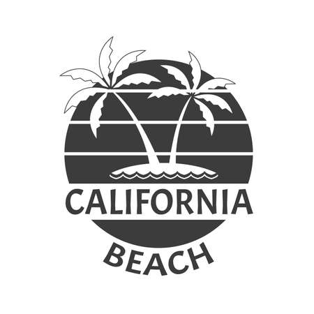 California Beach print with a Palm trees on the island. Summer typography design for T-shirt. Tropical badge. Vector illustration.