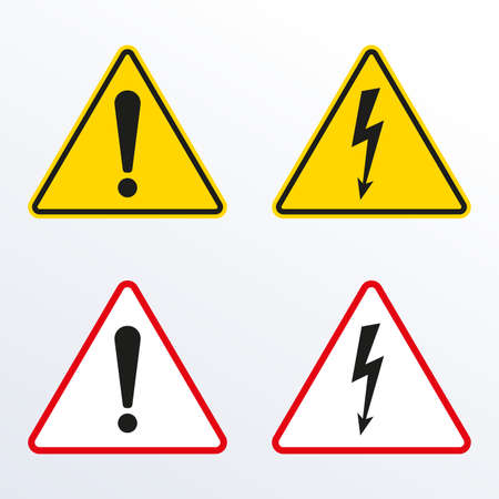Caution warning sign with exclamation mark and Electrical hazard sign with lightning or thunder. High voltage, Alert, danger, attention and error symbol. Triangle shape. Vector illustration.