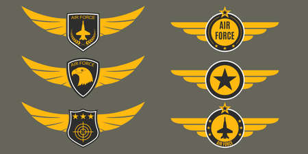 Air Force  with wings, shields and stars. Military badges. Army patches. Vector illustration.