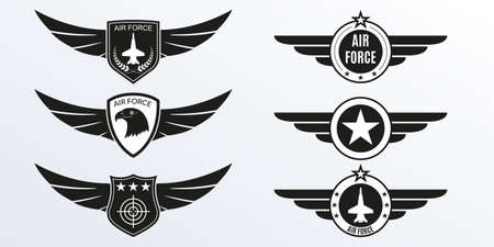 Air Force logo with wings, shields and stars. Military badges. Army patches. Vector illustration. Ilustração
