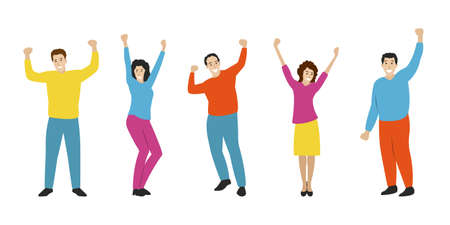 Happy people set in flat style. Smiling and laughing Men and woman rising Hands up. Dancing persons. Party, success, friendship, celebration, joy and fun concept. Vector illustration.