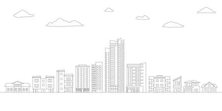 Outline City or Town with Buildings and Houses. Modern Urban Landscape. Cityscape with Skyline. Vector illustration.