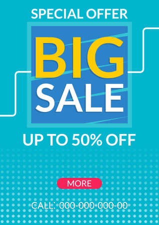 Big Sale banner. Up to 50 percent price off. Discount flyer, poster or promo coupon design template. Vector illustration.