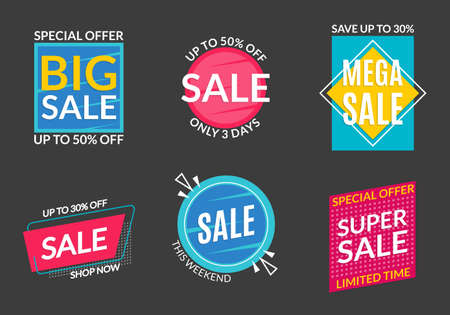 Sale label set. Discount badges or stickers. Price off banner collection. Special offer and promotion coupon design element. Super and Mega sale advertising. Vector illustration. Ilustração