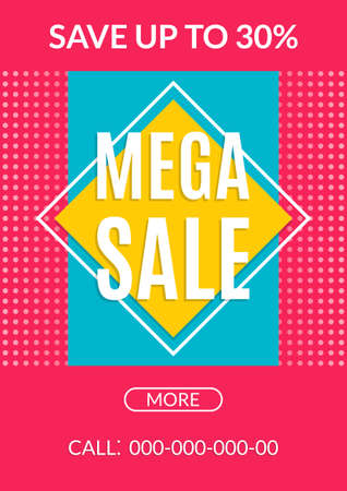 Mega Sale banner. Special offer with price off. Discount flyer, poster or promo coupon design template. Vector illustration. Ilustração