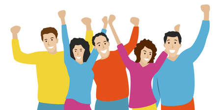Happy people standing together and embracing each other. Group portrait of friends. Smiling and lathing men and women rising Hands up. Friendship, celebration, joy and fun concept. Vector illustration