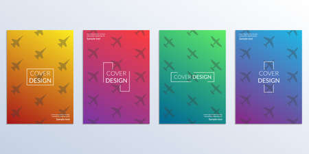 Cover Design set with gradient and planes background. Modern Covers template with airplanes for poster, corporate brochure, book, catalog, flyer. Vector illustration.