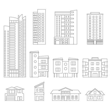Buildings and city houses outline set. Modern office and residential building collection for city or town design. Vector illustration.
