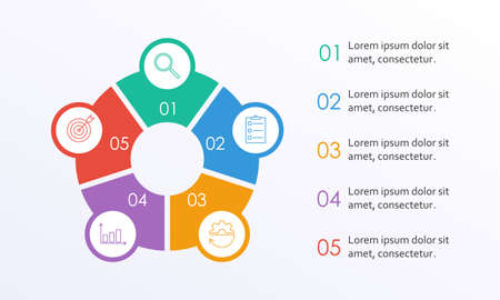 Business info graphic with 5 steps or options with circle elements. Infographic template for business process, presentation, workflow layout, diagram, chart. Modern simple design. Vector illustration. Ilustração