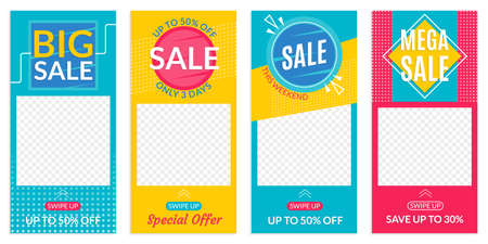 Insta Stories Sale banner design templates. Discount Frames for Smartphone story. Social Media layout with Swipe Up button. Special offer and Price off coupon. Vector illustration.