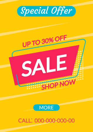 Sale banner template. Discount flyer or poster. Special Offer and Price off coupon for Clearance, Promo, Social media, Marketing in flat style. Vector illustration. Ilustração