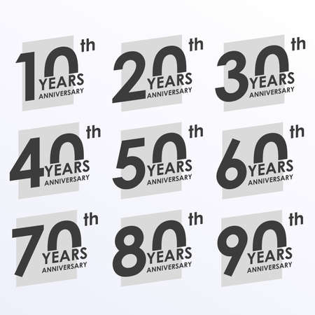 Anniversary icon set. 10, 20, 30, 40, 50, 60, 70, 80, 90 years Anniversary badges collection. Modern logos or labels design for Birthday, Wedding, Corporate Invitation, Celebrating, Party, Business Event. Vector illustration.