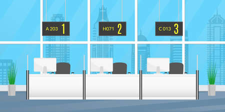 Bank inside with counter desk windows. Front office concept. Financial, Consulting, Currency Exchange or Insurance center interior. Vector illustration.