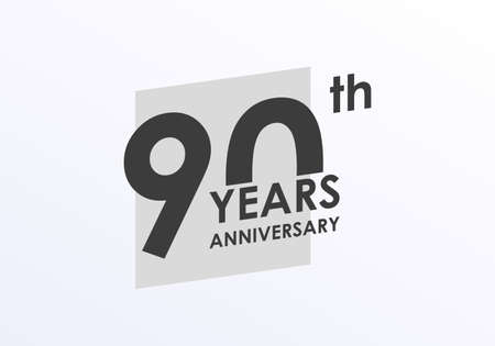 90 years Anniversary logo. 90th Birthday badge. Modern icon or label design for wedding, corporate invitation, celebrating, party, business event. Vector illustration.