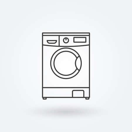Washing machine line icon. Laundry symbol. Vector illustration. Banco de Imagens - 151809536