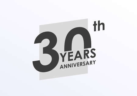 30 years Anniversary logo. 30th Birthday badge. Modern icon or label design for wedding, corporate invitation, celebrating, party, business event. Vector illustration. Banco de Imagens - 151809538