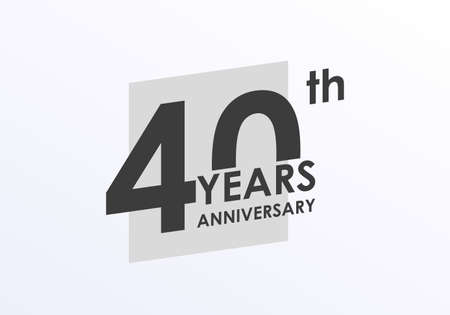 40 years Anniversary logo. 40th Birthday badge. Modern icon or label design for wedding, corporate invitation, celebrating, party, business event. Vector illustration.