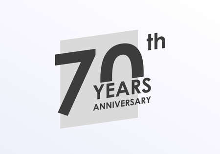 70 years Anniversary logo. 70th Birthday badge. Modern icon or label design for wedding, corporate invitation, celebrating, party, business event. Vector illustration.