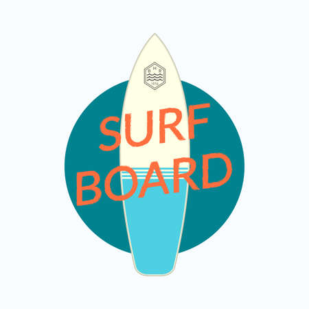 Surfboard print. Surf Board typography design for T Shirt. Surfing badge or logo. Vector illustration.