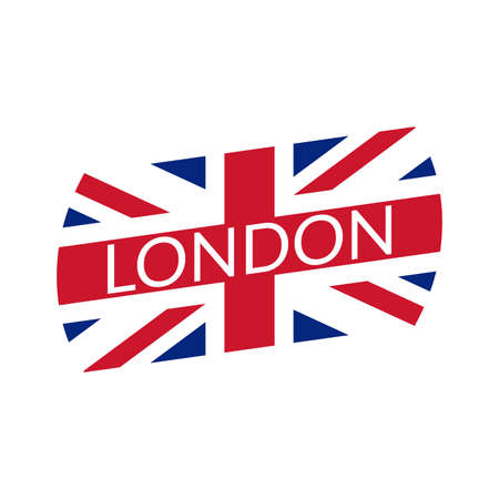 London text. Typography design with England or UK flag. London city banner, poster, Tee print, T-shirt graphics with British flag. Vector illustration.