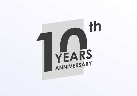 10 years Anniversary logo. 10th Birthday badge. Modern icon or label design for wedding, corporate invitation, celebrating, party, business event. Vector illustration. Ilustração