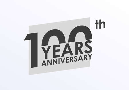 100 years Anniversary logo. 100th Birthday badge. Modern icon or label design for wedding, corporate invitation, celebrating, party, business event. Vector illustration.