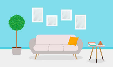 Living room interior with sofa or couch, plant, pictures on the wall. Modern house lounge design. Vector illustration.