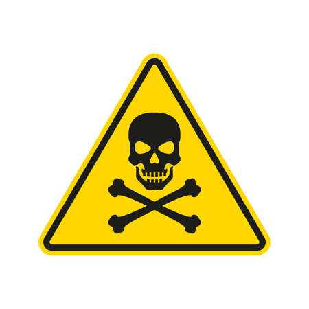 Hazard or warning sign with skull and bones. Toxic and chemical poison symbol. Triangle Caution icon. Vector illustration. Ilustracja