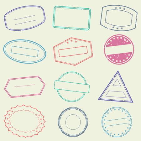 Stamp frame set with grunge borders. Empty seal collection. Vector illustration.