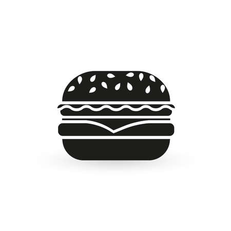 Burger icon. Hamburger black silhouette. Vector illustration. Ilustracja