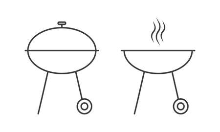 Barbecue grill outline icon. BBQ oven line sign. Vector illustration.
