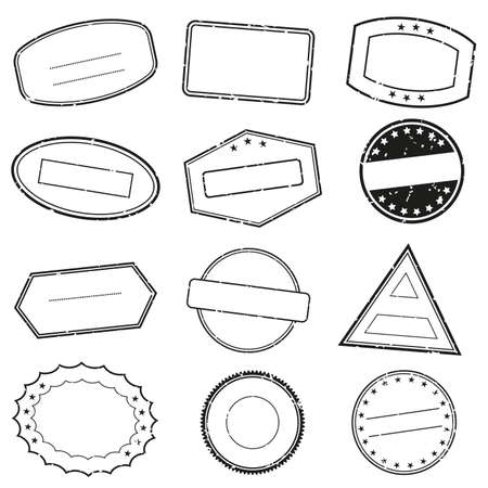 Empty stamp frames set with grunge texture. Stamps or seals without text. Vector illustration.