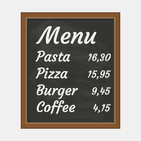 Menu board for cafe or restaurant with chalkboard texture. Vector illustration. Ilustracja