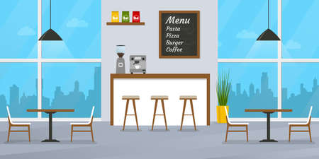 Cafe or restaurant interior design with bar counter, tables and chairs. Cafeteria inside with window and menu board. Vector illustration. Ilustracja