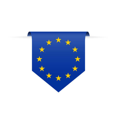 EU flag ribbon or pennant. Hanging European Union flag. Vector illustration.