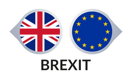 Brexit icon with UK flag and EU flag. British and Europe crisis symbol. Vector illustration. Vectores