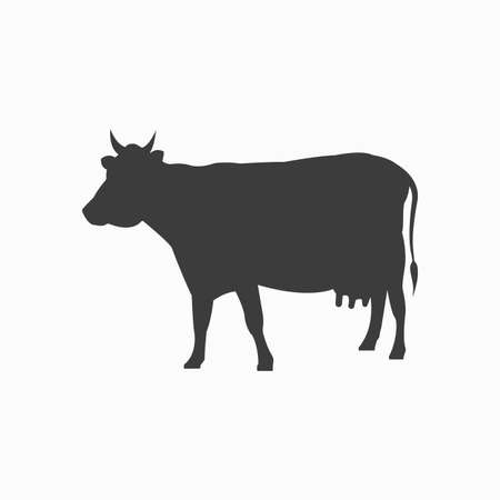 Cow silhouette. Cattle icon. Beef symbol. Vector illustration.