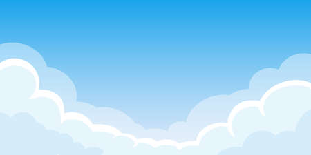 Cloud background with space for text. Blue sky border or banner template. Vector illustration. Ilustracja