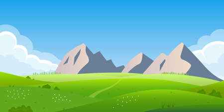 Mountain landscape. Nature background with mountains, hills, summer field or meadow with green grass and sky with clouds. Vector illustration.