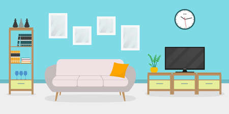 Living room interior with sofa, TV, shelf and pictures on the wall. Ilustracja