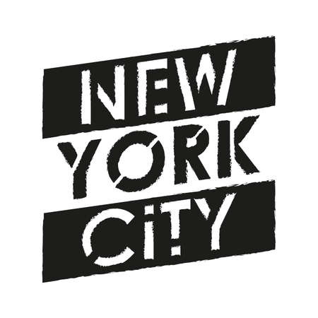 New York City typography modern text with grunge texture. NYC T-Shirt graphic, fashion, poster, jersey, emblem, badge design. Vector illustration.