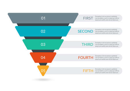 Sales and Marketing Funnel. Business pyramid template with 5 steps.